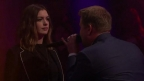 James Corden Mocks Anne Hathaway's Movies and Oscar Hosting Gig in No-Holds-Barred Rap Battle on 'Late Late Show'